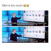 Too Much, Ellen, and The Middle: Ellen is too much  And in the middle of all the mailboxes, there's a French hom.  What's that doing there?  What emotion is that?  f How can you feel horn nevermind ELLEN