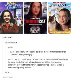 "Apparently, Family, and Thriller: ELLEN PAGE  ELLEN PAGE  DOWNLOADED  GHOST  THE  THAT CAME BACK  ELLEN PAGE  GHOSTCAT  kyrkovisan:  rubyfruitjumble  srmxy:  Ellen Page's early filmography looks like it was Photoshopped for an  Arrested Development gag  wait I looked it up and ""ghost cat"" and ""the cat that came back are literally  the same movie that was released under two different names and  apparently they just tried to market it separately as a thriller and as a  heartwarming family film???  What  Source: srmxy Ellen Pages early filmography"