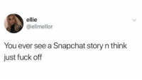 Funny, Snapchat, and Fuck: ellie  @ellmellor  You ever see a Snapchat story n think  just fuck off Oh man, all the time. https://t.co/ZjS5DF3pea