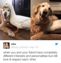 <p>Just a couple of best frens</p>: ellie  @holy_schnitt Apr 13  when you and your friend have completely  different interests and personalities but still  love & respect each other <p>Just a couple of best frens</p>