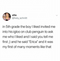 "Club, Memes, and Spanish: ellie  @holy_schnitt  in 5th grade the boy I liked invited me  into his igloo on club penguin to ask  me who l liked and l said you tell me  first;) and he said ""Erica"" and it was  my first of many moments like that SOMEONE HELP ME PLS When I was like 10 I used to watch this show about like this woman who would dress up as a bride at night and she carries a knife and her outfit was bloody and she would kill people and she had a daughter but her daughter didn't know it was her and like yeah idk it was in Spanish or something idk I don't remember but yah if u know what I'm talking about pls dm me pls I never got to finish it and I really want to... it was such a good show..."