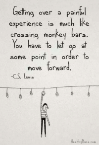 monkey bars: elling over a Painful  experience is much like  crossing monkey bars.  You have to let  go at  some point in order to  move forward  -CS. Lewis  Healthyhace.com