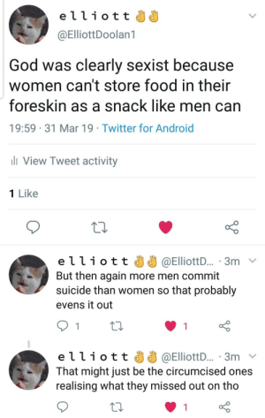 Android, Food, and Funny: elliott  @ElliottDoolan1  God was clearly sexist because  women can't store food in their  foreskin as a snack like men can  19:59 31 Mar 19 Twitter for Android  ll View Tweet activity  1 Like  elliott  @ElliottD... 3m v  But then again more men commit  suicide than women so that probably  evens it out  e ї 1 i o t t J J @ElliottD.. . 3m  That might just be the circumcised ones  realising what they missed out on tho This. Is. Deep.