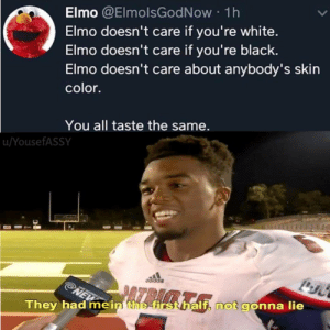 : Elmo @ElmolsGodNow 1h  Elmo doesn't care if you're white.  Elmo doesn't care if you're black.  Elmo doesn't care about anybody's skin  color.  You all taste the same.  u/YousefASSY  NEW  They had me in the first half, not gonna lie