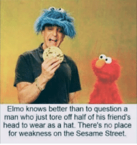 Elmo, Friends, and Head: Elmo knows better than to question a  man who just tore off half of his friend's  head to wear as a hat. There's no place  for weakness on the Sesame Street *stares into your soul*