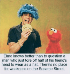 Dank, Elmo, and Friends: Elmo knows better than to question a  man who just tore off half of his friend's  head to wear as a hat. There's no place  for weakness on the Sesame Street *stares into your soul* by white_trance MORE MEMES