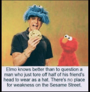 Well then: Elmo knows better than to question a  man who just tore off half of his friend's  head to wear as a hat. There's no place  for weakness on the Sesame Street. Well then