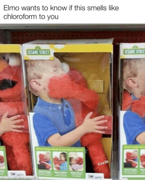 Kidnap Elmo: Elmo wants to know if this smells like  chloroform to you  SESAME STREE  SESAME STREET  Elmo bugs bad  Elmo hugs back & so much more  Coz36  Eime  Real hun  Seal hurg  Eme talint ap  made withmematicic Kidnap Elmo