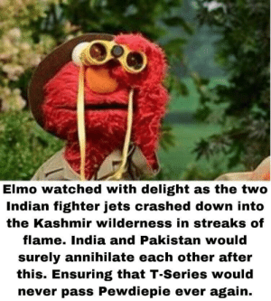 Sesame Street is doing their part: Elmo watched with delight as the two  Indian fighter jets crashed down into  the Kashmir wilderness in streaks of  flame. India and Pakistan would  surely annihilate each other after  this. Ensuring that T-Series would  never pass Pewdiepie ever again. Sesame Street is doing their part