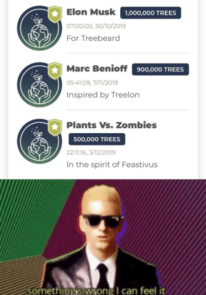 7/11, Zombies, and Spirit: Elon Musk 1,000,000 TREES  07:00:00, 30/10/2019  For Treebeard  Marc Benioff  900,000 TREES  05:41:09, 7/11/2019  Inspired by Treelon  Plants Vs. Zombies  500,000 TREES  22:11:16, 3/12/2019  In the spirit of Feastivus  Something's wrong I can feel it We need to prepare for the zombies fella
