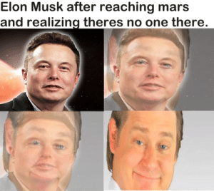 realizing: Elon Musk after reaching mars  and realizing theres no one there.