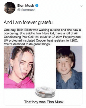 Amazing: Elon Musk  @elonmusk  And I am forever grateful  One day, Billie Eilish was walking outside and she saw a  boy crying. She said to him Here kid, have a roll of Air  Conditioning Pair Coi 14'x 3/B' 410A 20m Polyethylene  UV protected insulated Copper heat resistant to 120C.  You're destined to do great things.  That boy was Elon Musk Amazing