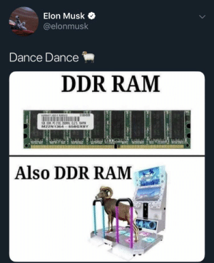 Dank Memes, Dance, and How: Elon Musk  @elonmusk  Dance Dance  DDR RAM  $T004899  1G8 0OR PC 2100 266MH CL25 164PIN  M22N1364 65BGXBY  Also DDR RAM  Man  tommo  mmin How is this not a simulation