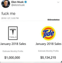 Memes, Fuck, and 🤖: Elon Musk  @elonmusk  fuck me  2018-1-27, 5:00 PM  IG@cockstco  ide  TESLR  January 2018 Sales  January 2018 Sales  Estimate Monthly Profits  Estimate Monthly Profits  $1,000,000  $5,134,215