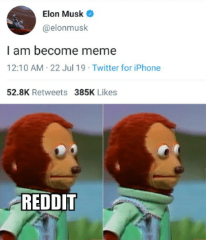 Iphone, Meme, and Reddit: Elon Musk  @elonmusk  I am become meme  22 Jul 19 Twitter for iPhone  12:10 AM  52.8K Retweets 385K Likes  REDDIT It was our duty