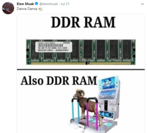 Meme, Reddit, and Dance: Elon Musk  @elonmusk Jul 21  Dance Dance  DDR RAM  STO0489  1GB DOR PC 2100 66MCL2S 164PN  M22N1364  65BGXBY  Also DDR RAM  asce He has become meme