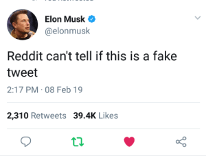 An Interesting Title: Elon Musk  @elonmusk  Reddit can't tell if this is a fake  tweet  2:17 PM · 08 Feb 19  2,310 Retweets 39.4K Likes An Interesting Title
