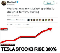 News, Hunting, and Breaking News: , Elon Musk  @elonmusk  Segui  Working on a new Muskett specifically  designed for furry hunting  22:15 25 ott 2018  612 Retweet 7331 Mi piace  ●●圈  睡  9225  612。7331  Live  Breaking News  TESLA STOCKS RISE 300% Me irl