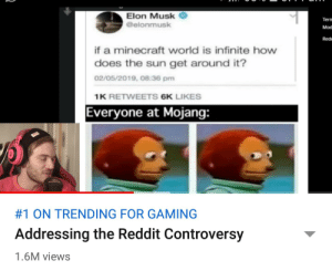 Never knew that reddit is a game: Elon Musk  @elonmusk  Tern  Mod  Rede  if a minecraft world is infinite how  does the sun get around it?  02/05/2019, 08:36 pm  1K RETWEETS 6K LIKES  Everyone at Mojang:  #1 ON TRENDING FOR GAMING  Addressing the Reddit Controversy  1.6M views Never knew that reddit is a game