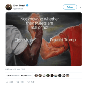 I wonder via /r/memes https://ift.tt/2JYgB3I: Elon Musk  Follow  @elonmusk  Not knowing whether  their tweets are  real or not  Elon Mus  onald Trump  8:43 AM-12 Nov 2018  12,820 Retweets 94,490 Likes I wonder via /r/memes https://ift.tt/2JYgB3I
