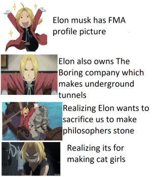 Anime, Girls, and Lost: Elon musk has FMA  profile picture  Elon also owns The  Boring company which  makes underground  tunnels  Realizing Elon wants to  sacrifice us to make  philosophers stone  Realizing its for  making cat girls To gain something, something of equal value must be lost.