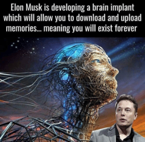 That b*tch is amazing: Elon Musk is developing a brain implant  which will allow you to download and upload  memories..meaning you will exist forever That b*tch is amazing