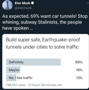 Imagine calling people who point out you trying to re-envent the wheel subway Stalinists: Elon Musk O  @elonmusk  As expected, 69% want car tunnels! Stop  whining, subway Stalinists, the people  have spoken ..  Build super safe, Earthquake-proof  tunnels under cities to solve traffic  Definitely  69%  Maybe  18%  No, I like traffic  13%  746,051 votes · 10 hours 38 minutes left Imagine calling people who point out you trying to re-envent the wheel subway Stalinists