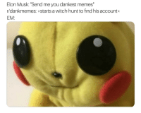 "Dankest: Elon Musk: ""Send me you dankest memes""  r/dankmemes: starts a witch-hunt to find his account  EM"