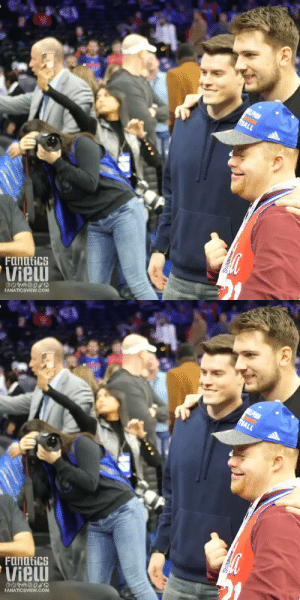 This Sixers fan drained a jumper in front of Luka 🙌 (via @fanaticsview) https://t.co/wGUCc8bBgj: ELPHA  BALL  Fanatics  Vieu  FANATICSVIEW.CcOM   EPHA  BALL  Fanatics  Vieu  FANATICSVIEW.CcOM This Sixers fan drained a jumper in front of Luka 🙌 (via @fanaticsview) https://t.co/wGUCc8bBgj