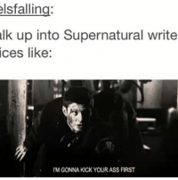 Memes, 🤖, and Kick: elsfalling:  alk up into Supernatural write  ices like:  IM GONNA KICK YOUR ASS FIRST mhm