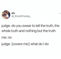 Really though, what then?: elv  @_ElvishPresley_  judge: do you swear to tell the truth, the  whole truth and nothing but the truth  me: nd  judge: [covers mic] what do l do Really though, what then?