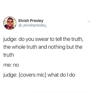 """Sir, you're free to go"" (credit & consent: @_ElvishPresley_): Elvish Presley  @_elvishpresley_  judge: do you swear to tell the truth,  the whole truth and nothing but the  truth  me: nd  judge: [covers mic] what do l do ""Sir, you're free to go"" (credit & consent: @_ElvishPresley_)"