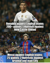 Thoughts ❓ Messi & Ronaldo: Ely  Ronaldo against English teams:  200+ games, 1Hattrick against  New Castle United  OIFOOTBALL IS MY DRUG, BARCELONA IS MY DEALER  AIRWAYS  FOOTBALL IS MY DRUG  BARCELONA IS MY DEA  Messi against English teams:  25 games, 2 Hattricks against  Arsenal and man City Thoughts ❓ Messi & Ronaldo