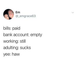 meirl by finneganishome FOLLOW HERE 4 MORE MEMES.: Em  @_emgrace63  bills: paid  bank account: empty  working: still  adulting: sucks  yee: haw meirl by finneganishome FOLLOW HERE 4 MORE MEMES.