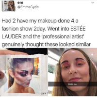 Fashion, Makeup, and Memes: em  @EmmaGyde  Had 2 have my makeup done 4 a  fashion show 2day. Went into ESTÉE  LAUDER and the 'professional artist'  genuinely thought these looked similar  Help me  Lara Nailed it 😂👌🏻 @antisocialtv @lola_the_ladypug @x__social_butterfly__x @x__antisocial_butterfly__x
