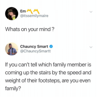 Family, Dank Memes, and Mind: Em  @itssemilymaire  Whats on your mind?  Chauncy Smart  @ChauncySmartt  If you can't tell which family member is  coming up the stairs by the speed and  weight of their footsteps, are you even  family? Too real 😂