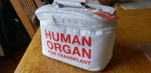 The new lunch box I got for Christmas.: EM.T.  HUMAN  ORGAN  FOR TRANSPLANT The new lunch box I got for Christmas.