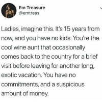 Latinos, Memes, and Money: Em Treasure  @emtreas  Ladies, imagine this. It's 15 years from  now, and you have no kids. You're the  cool wine aunt that occasionally  comes back to the country for a brief  visit before leaving for another long,  exotic vacation. You have no  commitments, and a suspicious  amount of money Hmmm 🤔🤔🤔😂😂 🔥 Follow Us 👉 @latinoswithattitude 🔥 latinosbelike latinasbelike latinoproblems mexicansbelike mexican mexicanproblems hispanicsbelike hispanic hispanicproblems latina latinas latino latinos hispanicsbelike