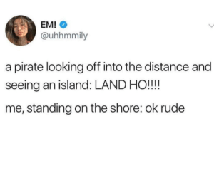 Pirates these days. Rude af: EM!  @uhhmmily  a pirate looking off into the distance and  seeing an island: LAND HO!!!!  me, standing on the shore: ok rude Pirates these days. Rude af