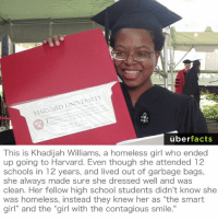 "Facts, Girls, and Homeless: em  UNIVERSITY  HARVARD uber  facts  This is Khadijah Williams, a homeless girl who ended  up going to Harvard. Even though she attended 12  schools in 12 years, and lived out of garbage bags,  she always made sure she dressed well and was  clean. Her fellow high school students didn't know she  was homeless, instead they knew her as ""the smart  girl and the girl With the Contagious Smile. Respect. http://www.huffingtonpost.com/2013/12/24/khadijah-williams-homeless-harvard_n_4493490.html"