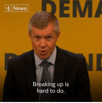 """Memes, News, and Break: EMA  4 News  Breaking up is  hard to do. """"Breaking up is hard to do. Rather than rubbing her hands with glee that Brexit could help her win independence, Nicola Sturgeon must surely see the obvious.""""   Willie Rennie, leader of the Scottish Lib Dems, says he cannot see how the SNP can conclude that """"the response to the break-up of Europe should be the break-up of Britain""""."""