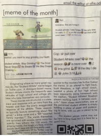 "<p>School newspaper used Student Athlete meme, its been adopted by the normies. Sell, sell, sell! via /r/MemeEconomy <a href=""http://ift.tt/2oiyXDt"">http://ift.tt/2oiyXDt</a></p>: email the editor at allie.odi  [meme of the month]  Rayto  ocO000  Grandma: Are you hungry?  Student athlete: I stay hungry  I'm eatin-4 s on the court  court meal i g#D
