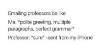 "Student problems: Emailing professors be like  Me: *polite greeting, multiple  paragraphs, perfect grammar*  Professor: ""sure"" -sent from my iPhone Student problems"