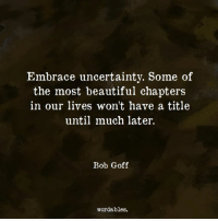 uncertainty: Embrace uncertainty. Some of  the most beautiful chapters  in our lives won't have a title  until much later.  Bob Goff  wordables.