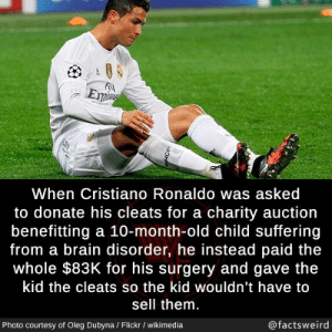 Thank you Cristiano, very wholesome: Eme  When Cristiano Ronaldo was asked  to donate his cleats for a charity auction  benefitting a 10-month-old child suffering  from a brain disorder, he instead paid the  whole $83K for his surgery and gave the  kid the cleats so the kid wouldn't have to  sell them.  @factsweird  Photo courtesy of Oleg Dubyna / Flickr / wikimedia  MCR Thank you Cristiano, very wholesome