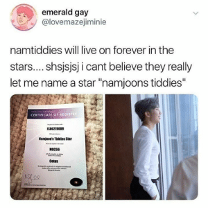 "Forever, Live, and Star: emerald gay  @lovemazejiminie  namtiddies will live on forever in the  stars.... shsjsjsj icant believe they really  let me name a star ""namjoons tiddies""  CERTIFICATE OF REGISTRY  ISD0278009  Namjoon's Tiddles Star  NGC66  Cetus"