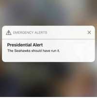Nfl, Phone, and Run: EMERGENCY ALERTS  Presidential Alert  The Seahawks should have run it. Anyone get this this weird notification on their phone?