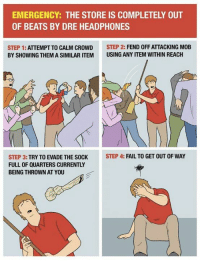 A Retail Worker's Survival Guide to Black Friday http://bit.ly/2fzVaZs: EMERGENCY: THE STORE IS COMPLETELY OUT  OF BEATS BY DRE HEADPHONES  STEP 1  ATTEMPT TO CALM CROWD  STEP 2  FEND OFFATTACKING MOB  BY SHOWING THEMASIMILAR ITEM USING ANY ITEM WITHIN REACH  STEP 4: FAIL TO GET OUT OF WAY  STEP 3:  TRY TO EVADE THE SOCK  FULL OF QUARTERS CURRENTLY  BEING THROWN AT YOU A Retail Worker's Survival Guide to Black Friday http://bit.ly/2fzVaZs