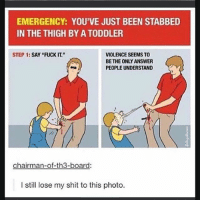 """Ironic, Shit, and Fuck: EMERGENCY: YOU'VE JUST BEEN STABBED  IN THE THIGH BY A TODDLER  STEP 1: SAY """"FUCK IT.""""  VIOLENCE SEEMS TO  BE THE ONLY ANSWER  PEOPLE UNDERSTAND  chairman-of-th3-board  I still lose my shit to this photo."""