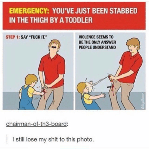 """Shit, Fuck, and Fuck It: EMERGENCY: YOU'VE JUST BEEN STABBED  IN THE THIGH BY A TODDLER  STEP 1:SAY """"FUCK IT.""""  VIOLENCE SEEMS TO  BE THE ONLY ANSWER  PEOPLE UNDERSTAND  chairman-of-th3-board:  I still lose my shit to this photo. Emergency"""